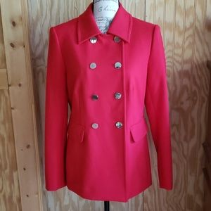 Carmen Marc Valvo Red Double Breasted Coat Blazer